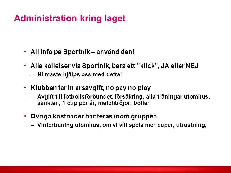 Administration kring laget All info på Sportnik – använd den.