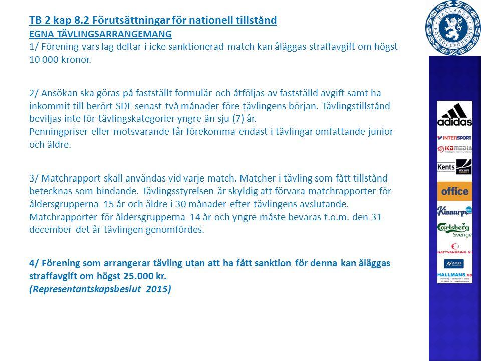 TB 2 kap 8.2 Förutsättningar för nationell tillstånd EGNA TÄVLINGSARRANGEMANG 1/ Förening vars lag deltar i icke sanktionerad match kan åläggas straffavgift om högst 10 000 kronor.