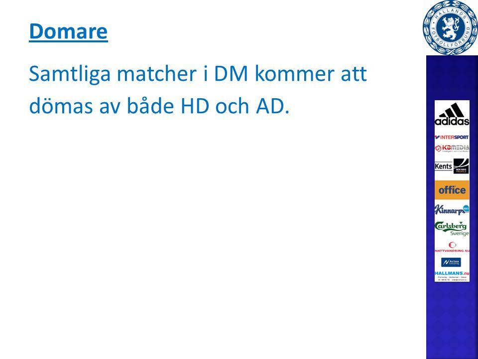 Domare Samtliga matcher i DM kommer att dömas av både HD och AD.
