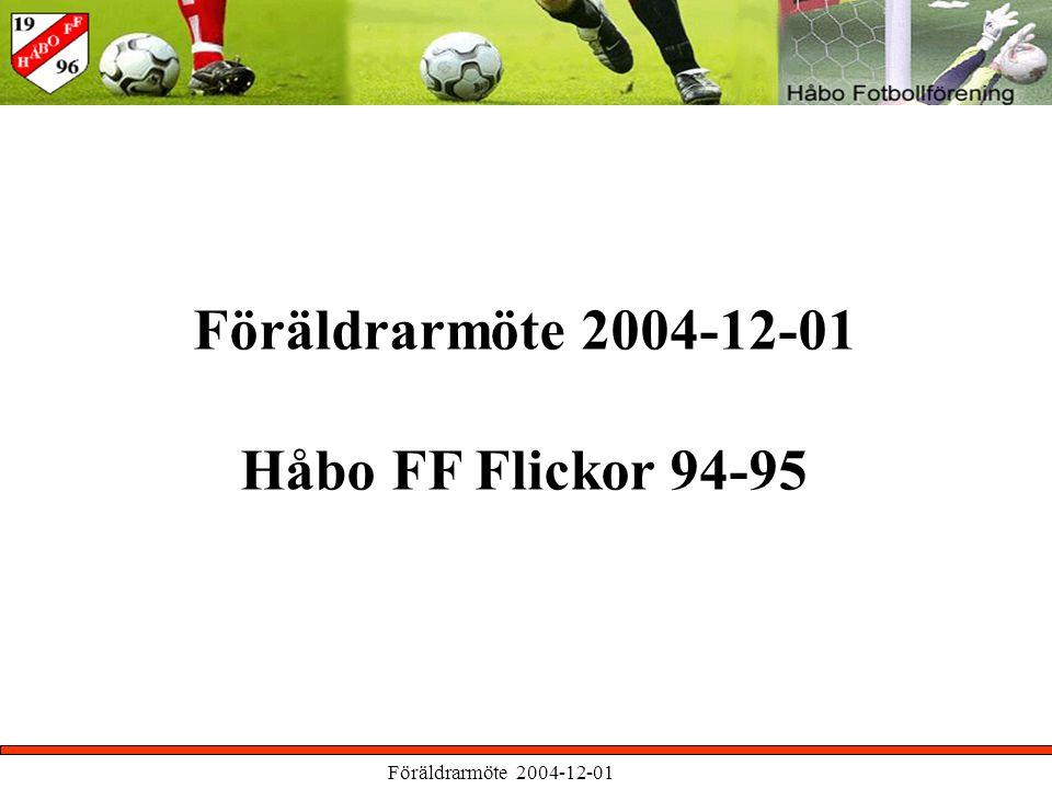 Föräldrarmöte 2004-12-01 Håbo FF Flickor 94-95