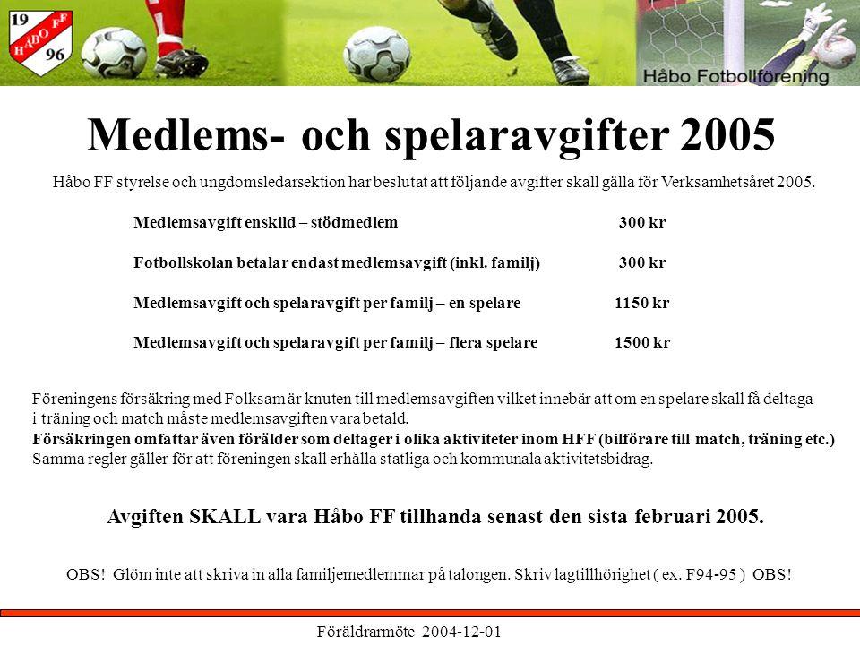 Föräldrarmöte 2004-12-01 Medlems- och spelaravgifter 2005 Håbo FF styrelse och ungdomsledarsektion har beslutat att följande avgifter skall gälla för Verksamhetsåret 2005.