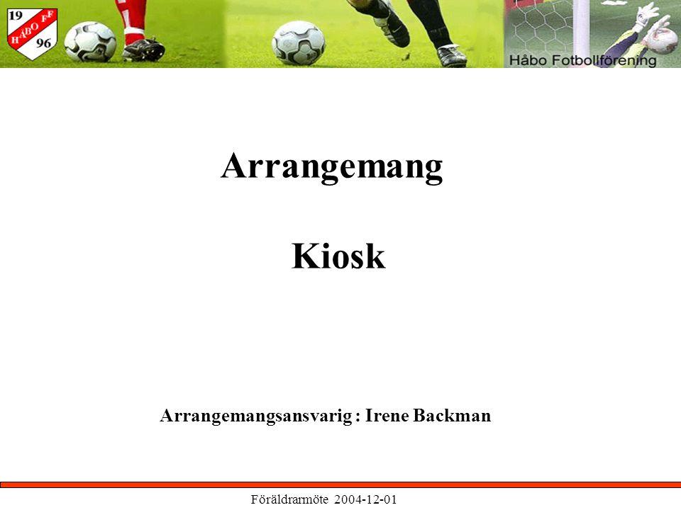Föräldrarmöte 2004-12-01 Arrangemang Kiosk Arrangemangsansvarig : Irene Backman