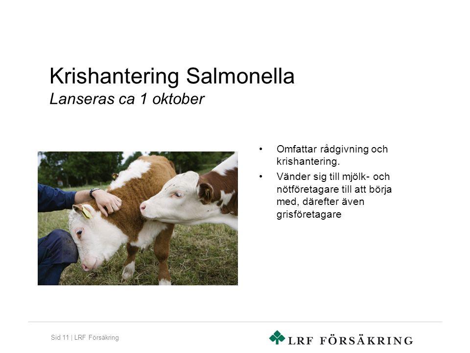 Sid 11 | LRF Försäkring Krishantering Salmonella Lanseras ca 1 oktober Omfattar rådgivning och krishantering. Vänder sig till mjölk- och nötföretagare