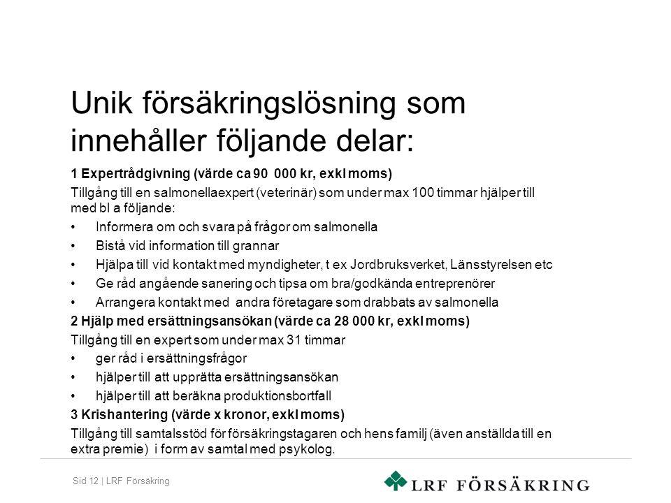 Sid 12 | LRF Försäkring Unik försäkringslösning som innehåller följande delar: 1 Expertrådgivning (värde ca 90 000 kr, exkl moms) Tillgång till en sal