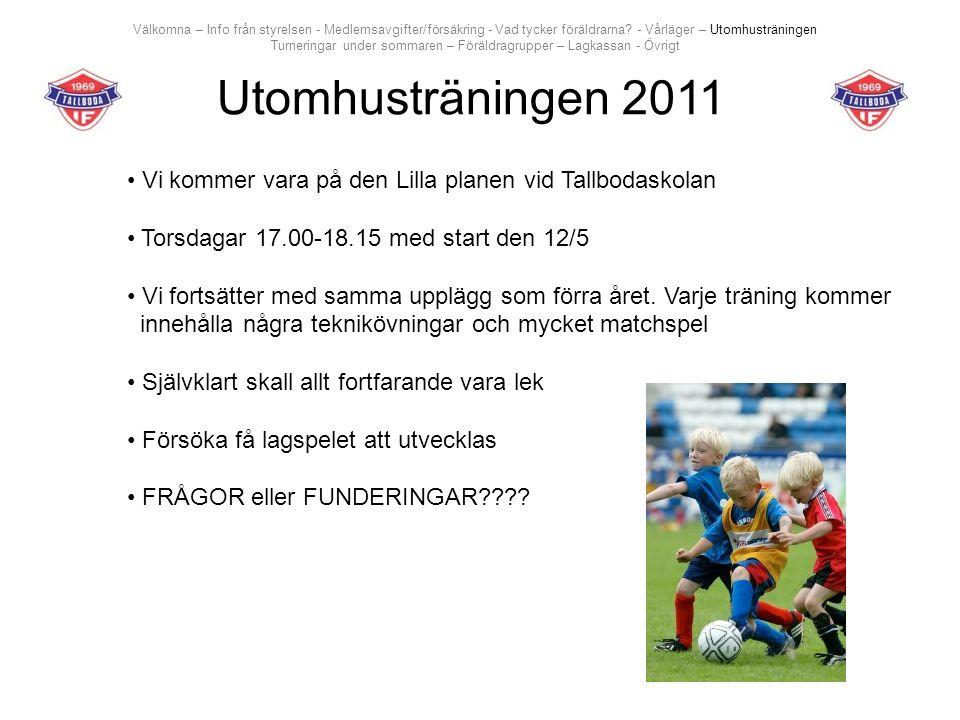 Utomhusträningen 2011 Vi kommer vara på den Lilla planen vid Tallbodaskolan Torsdagar 17.00-18.15 med start den 12/5 Vi fortsätter med samma upplägg som förra året.