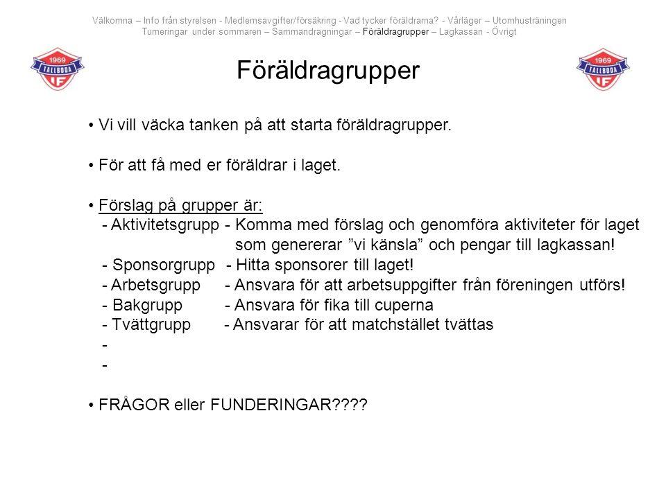 Föräldragrupper Välkomna – Info från styrelsen - Medlemsavgifter/försäkring - Vad tycker föräldrarna.