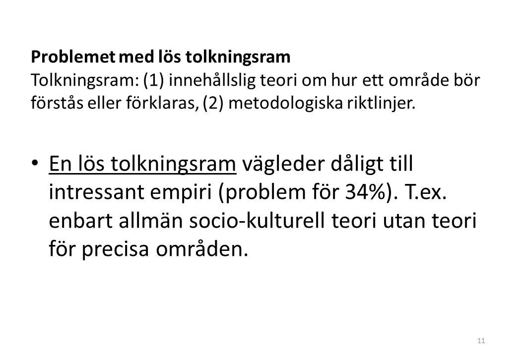 Problemet med lös tolkningsram Tolkningsram: (1) innehållslig teori om hur ett område bör förstås eller förklaras, (2) metodologiska riktlinjer.