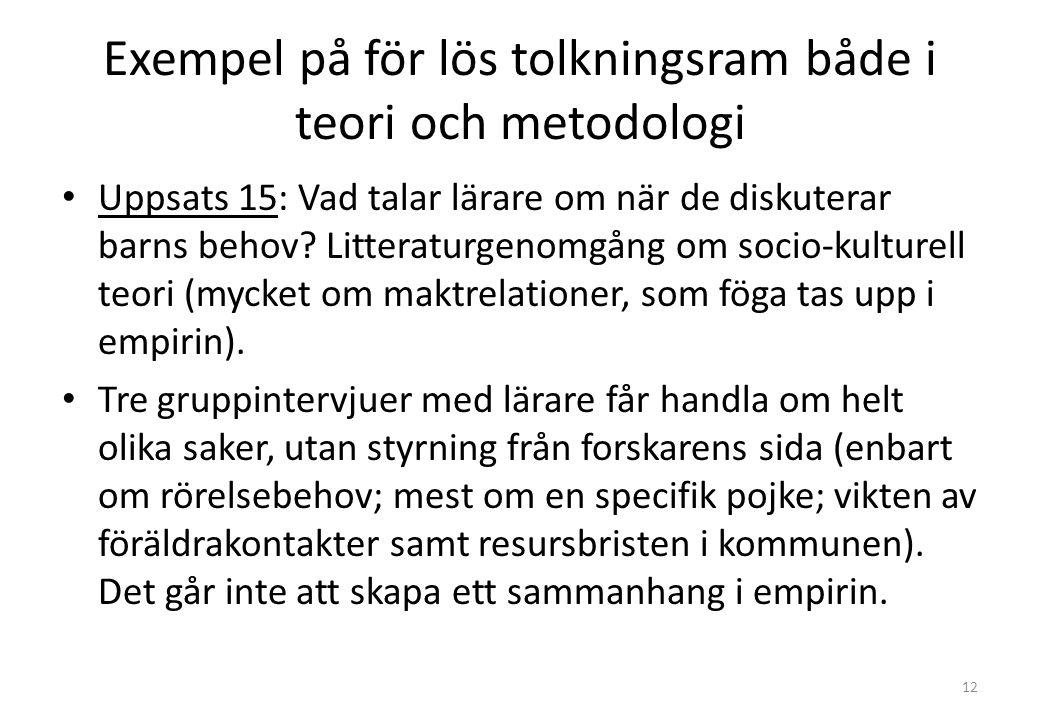 Exempel på för lös tolkningsram både i teori och metodologi Uppsats 15: Vad talar lärare om när de diskuterar barns behov.