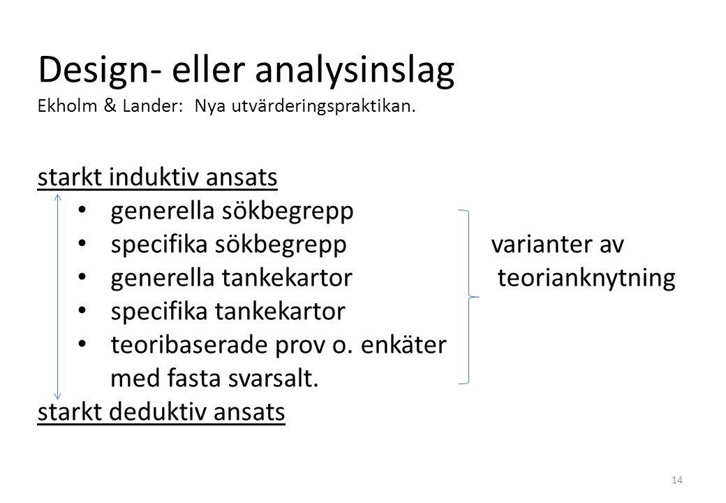 Design- eller analysinslag Ekholm & Lander: Nya utvärderingspraktikan.