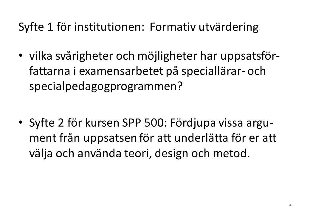 Syfte 1 för institutionen: Formativ utvärdering vilka svårigheter och möjligheter har uppsatsför- fattarna i examensarbetet på speciallärar- och specialpedagogprogrammen.