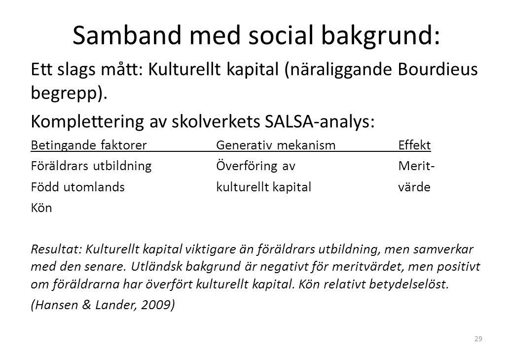 Samband med social bakgrund: Ett slags mått: Kulturellt kapital (näraliggande Bourdieus begrepp).