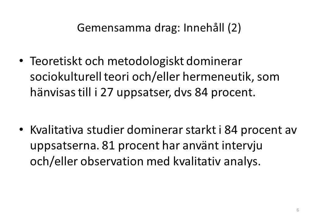 Gemensamma drag: Innehåll (2) Teoretiskt och metodologiskt dominerar sociokulturell teori och/eller hermeneutik, som hänvisas till i 27 uppsatser, dvs 84 procent.