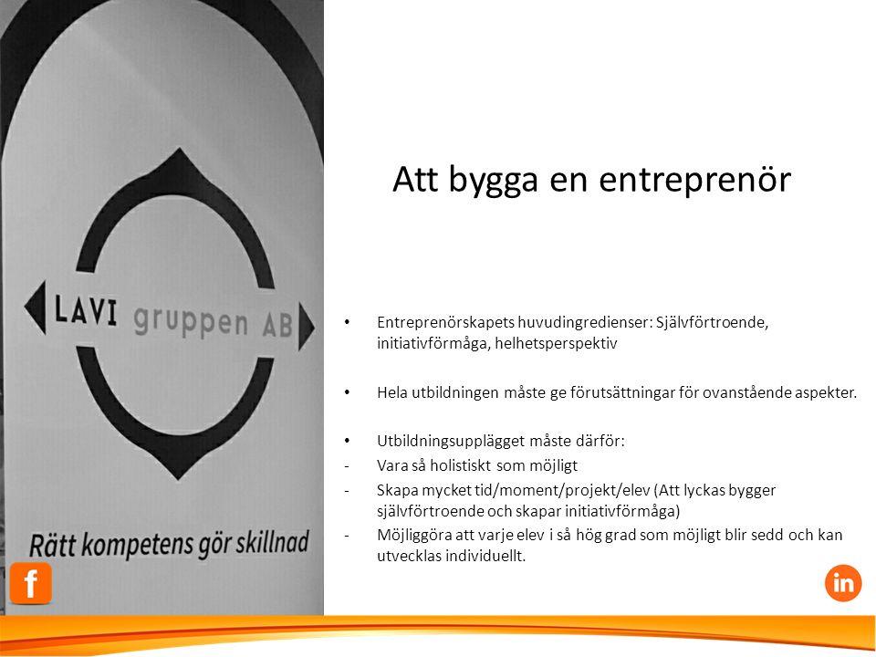 Att bygga en entreprenör Entreprenörskapets huvudingredienser: Självförtroende, initiativförmåga, helhetsperspektiv Hela utbildningen måste ge förutsättningar för ovanstående aspekter.