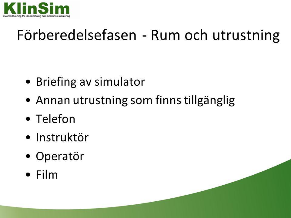 Förberedelsefasen - Rum och utrustning Briefing av simulator Annan utrustning som finns tillgänglig Telefon Instruktör Operatör Film