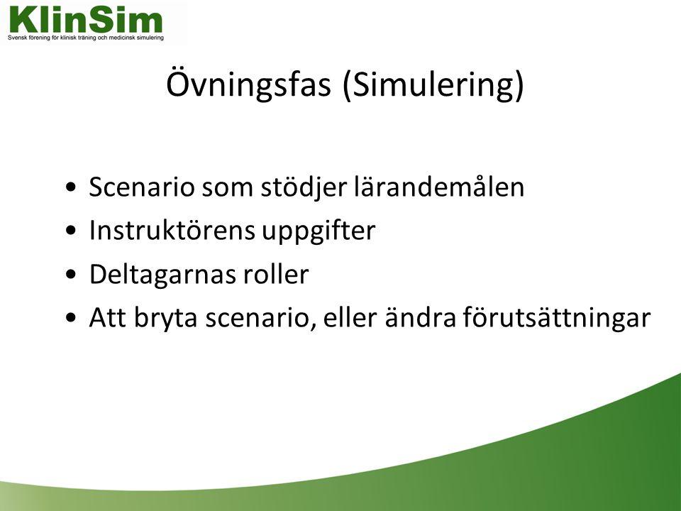 Övningsfas (Simulering) Scenario som stödjer lärandemålen Instruktörens uppgifter Deltagarnas roller Att bryta scenario, eller ändra förutsättningar