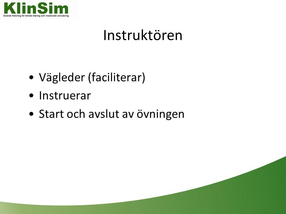 Instruktören Vägleder (faciliterar) Instruerar Start och avslut av övningen