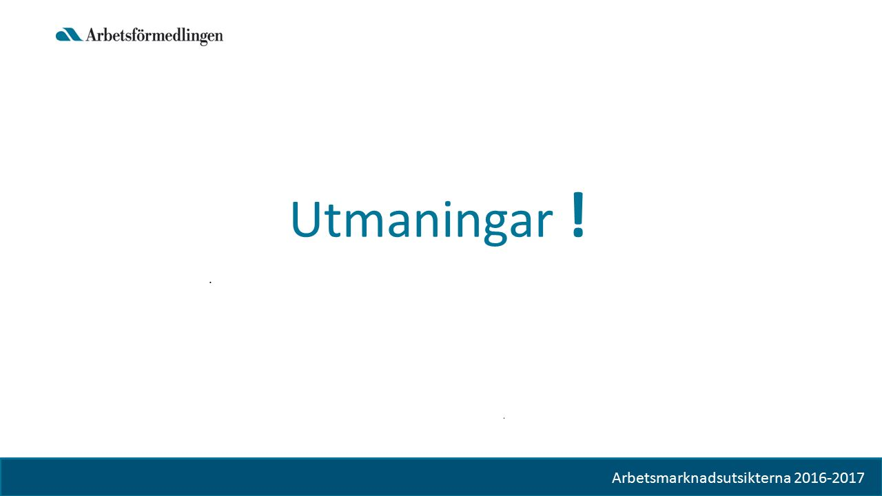 Bild 12 Utmaningar ! Arbetsmarknadsutsikterna hösten 2015 Arbetsmarknadsutsikterna 2016-2017
