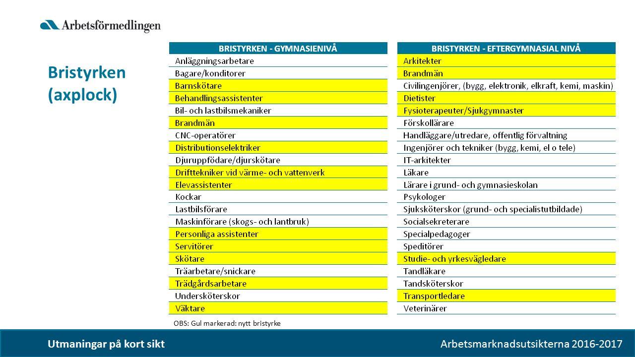 Arbetsmarknadsutsikterna 2016-2017 Utmaningar på kort sikt Bristyrken (axplock) OBS: Gul markerad: nytt bristyrke