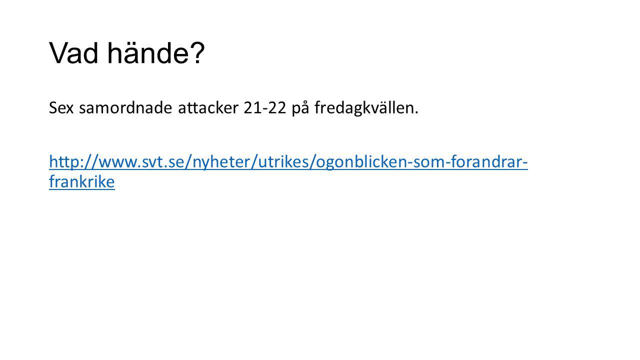 Vad hände? Sex samordnade attacker 21-22 på fredagkvällen. http://www.svt.se/nyheter/utrikes/ogonblicken-som-forandrar- frankrike