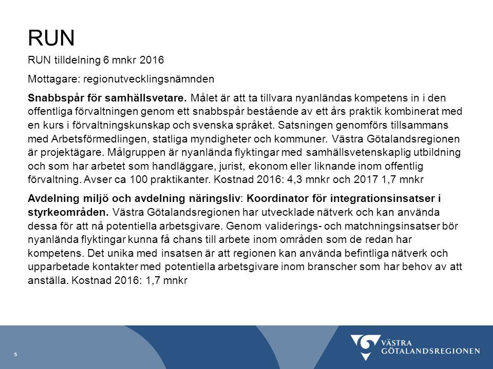 RUN RUN tilldelning 6 mnkr 2016 Mottagare: regionutvecklingsnämnden Snabbspår för samhällsvetare. Målet är att ta tillvara nyanländas kompetens in i d