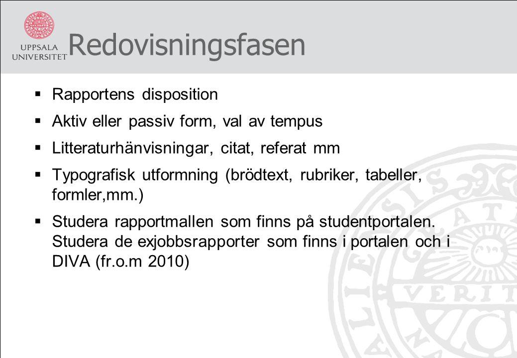 Redovisningsfasen  Rapportens disposition  Aktiv eller passiv form, val av tempus  Litteraturhänvisningar, citat, referat mm  Typografisk utformni
