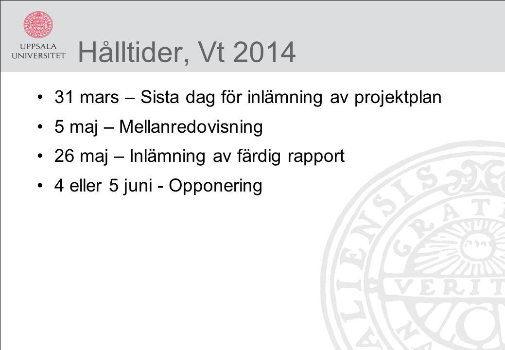 Hålltider, Vt 2014 31 mars – Sista dag för inlämning av projektplan 5 maj – Mellanredovisning 26 maj – Inlämning av färdig rapport 4 eller 5 juni - Opponering