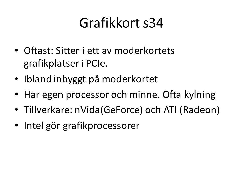Grafikkort s34 Oftast: Sitter i ett av moderkortets grafikplatser i PCIe.
