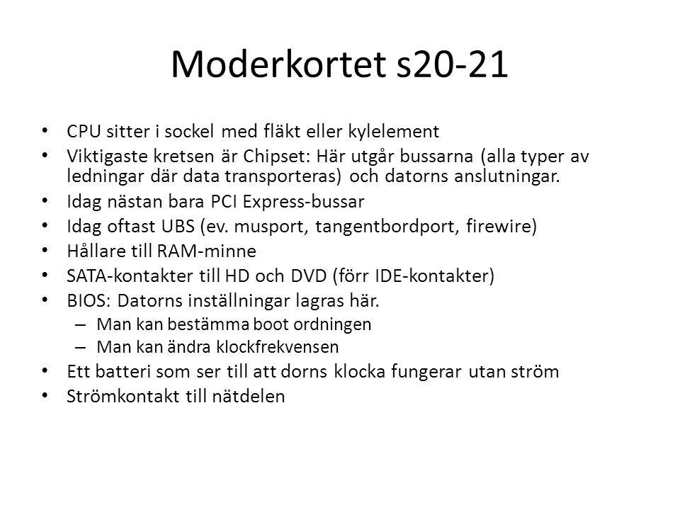 Moderkortet s20-21 CPU sitter i sockel med fläkt eller kylelement Viktigaste kretsen är Chipset: Här utgår bussarna (alla typer av ledningar där data transporteras) och datorns anslutningar.