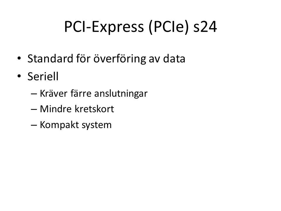 PCI-Express (PCIe) s24 Standard för överföring av data Seriell – Kräver färre anslutningar – Mindre kretskort – Kompakt system