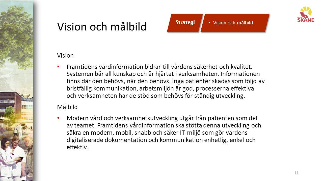 Vision och målbild 11 Vision Framtidens vårdinformation bidrar till vårdens säkerhet och kvalitet.