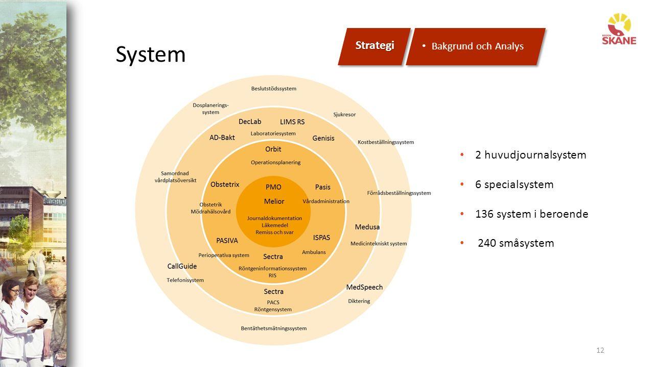 System 12 Strategi Bakgrund och Analys 2 huvudjournalsystem 6 specialsystem 136 system i beroende 240 småsystem