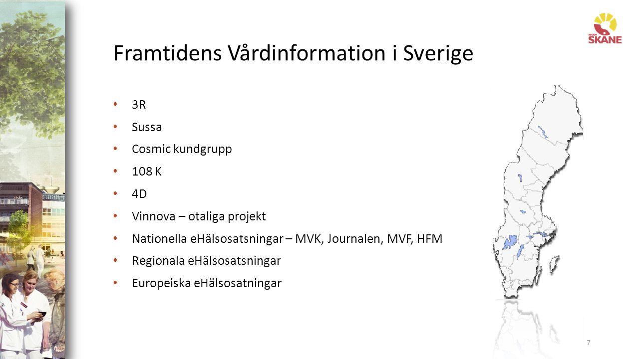 Framtidens Vårdinformation i Sverige 3R Sussa Cosmic kundgrupp 108 K 4D Vinnova – otaliga projekt Nationella eHälsosatsningar – MVK, Journalen, MVF, HFM Regionala eHälsosatsningar Europeiska eHälsosatningar 7