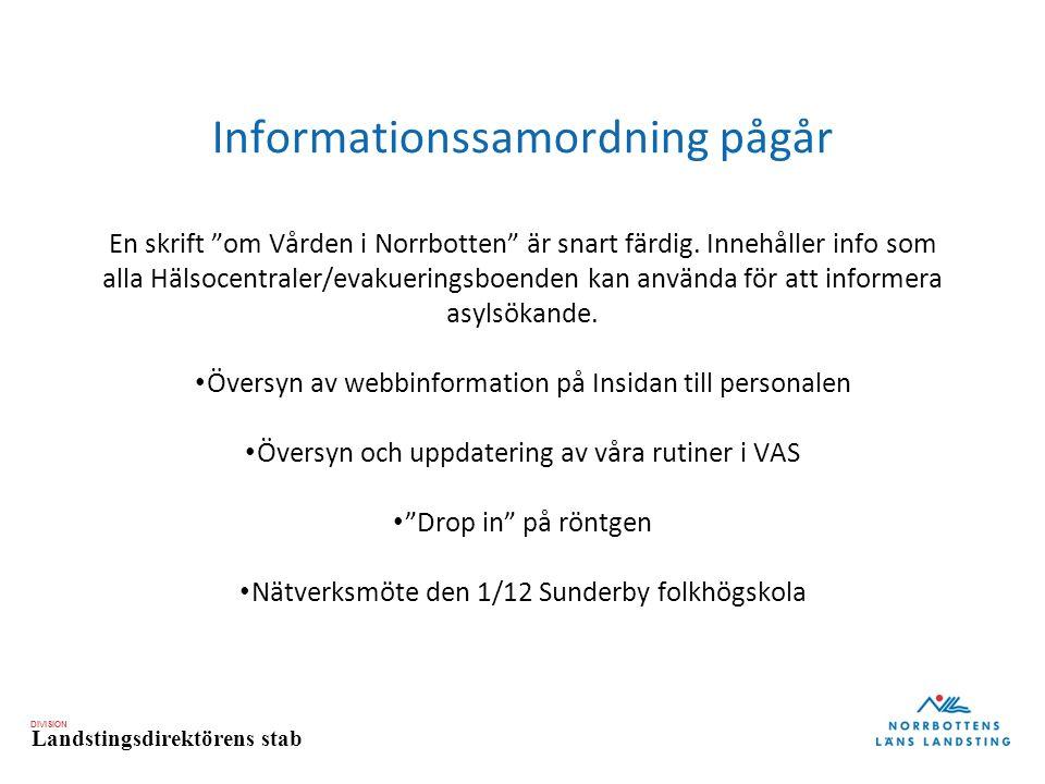 DIVISION Landstingsdirektörens stab Informationssamordning pågår En skrift om Vården i Norrbotten är snart färdig.
