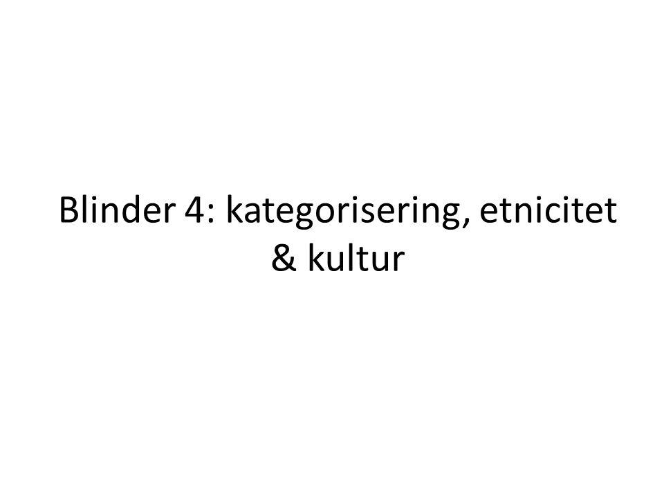 Blinder 4: kategorisering, etnicitet & kultur