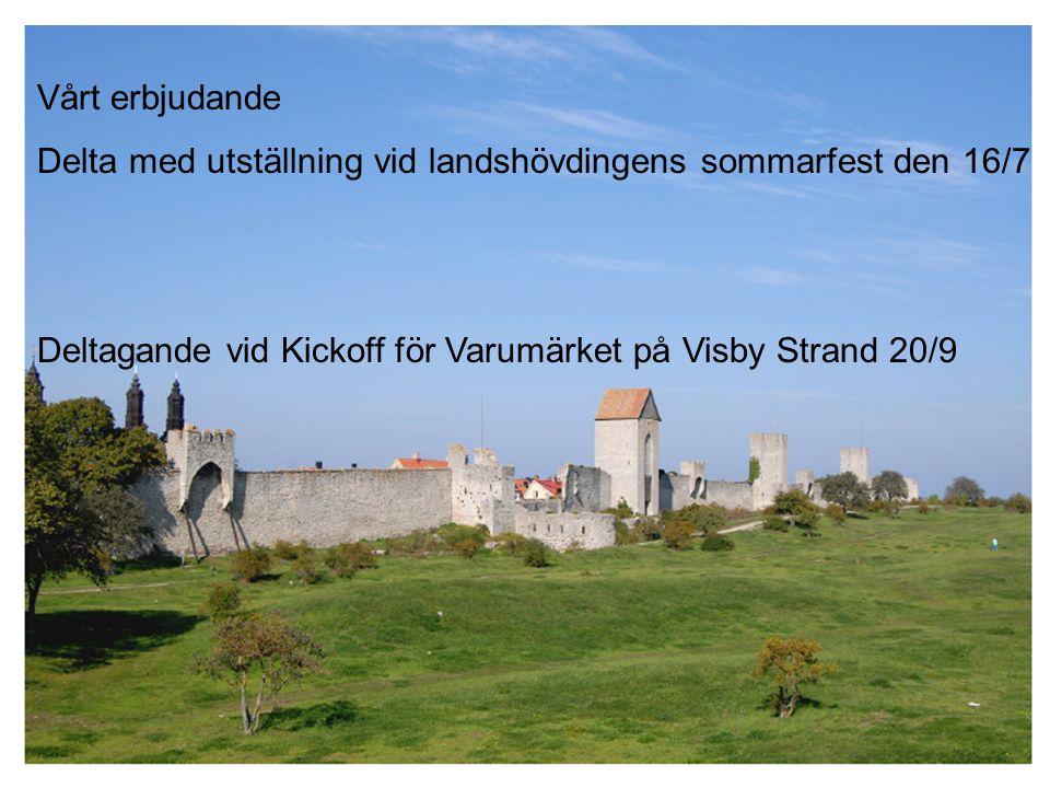 Vårt erbjudande Delta med utställning vid landshövdingens sommarfest den 16/7 Deltagande vid Kickoff för Varumärket på Visby Strand 20/9