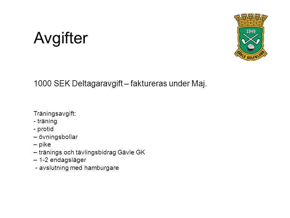 Avgifter 1000 SEK Deltagaravgift – faktureras under Maj.