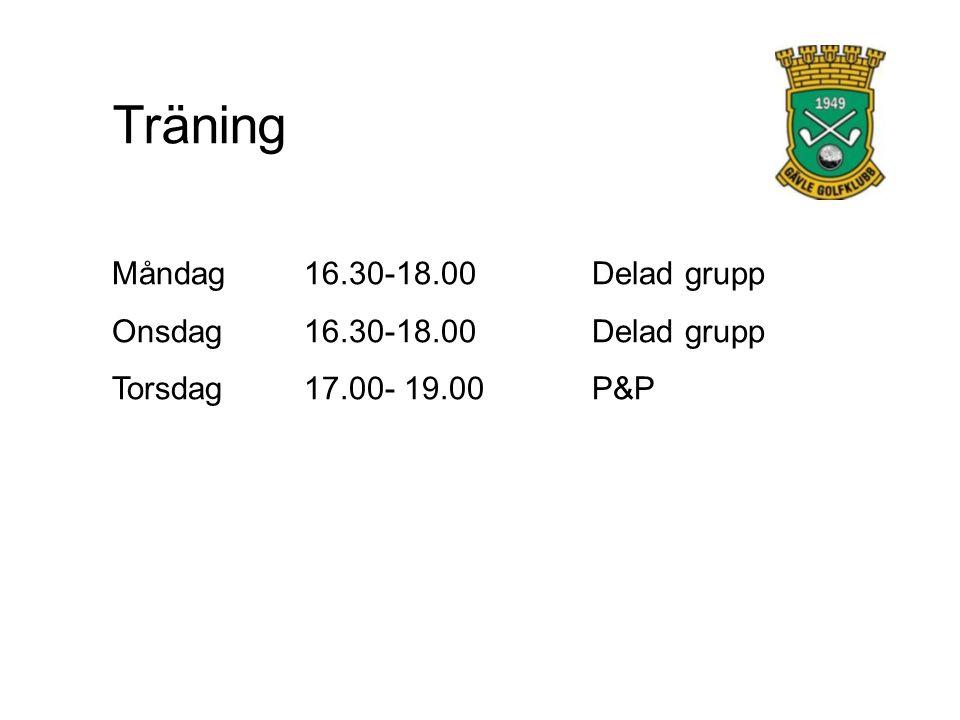 Träning Måndag 16.30-18.00 Delad grupp Onsdag 16.30-18.00 Delad grupp Torsdag17.00- 19.00 P&P