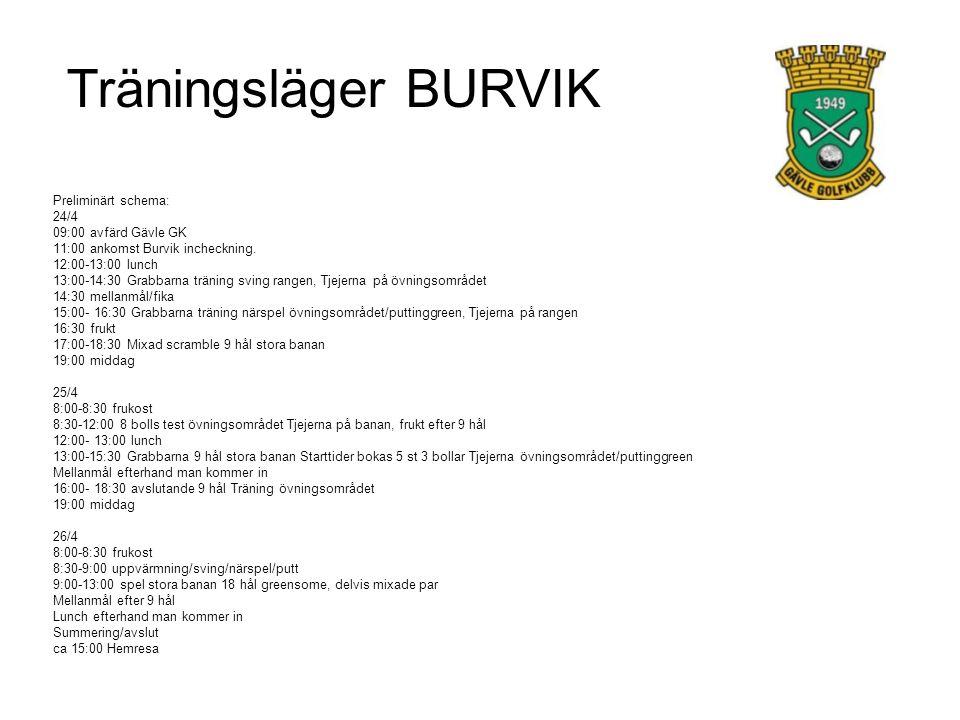 Träningsläger BURVIK Preliminärt schema: 24/4 09:00 avfärd Gävle GK 11:00 ankomst Burvik incheckning.