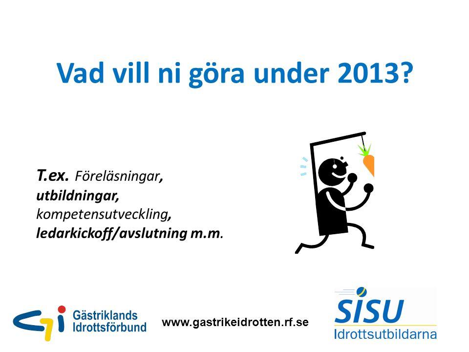 Vad vill ni göra under 2013. www.gastrikeidrotten.rf.se T.ex.