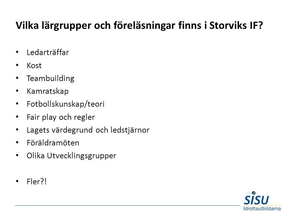 Vilka lärgrupper och föreläsningar finns i Storviks IF.