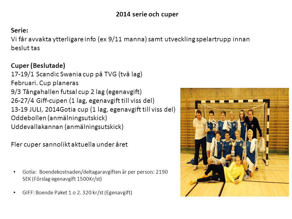 2014 serie och cuper Serie: Vi får avvakta ytterligare info (ex 9/11 manna) samt utveckling spelartrupp innan beslut tas Cuper (Beslutade) 17-19/1 Scandic Swania cup på TVG (två lag) Februari.