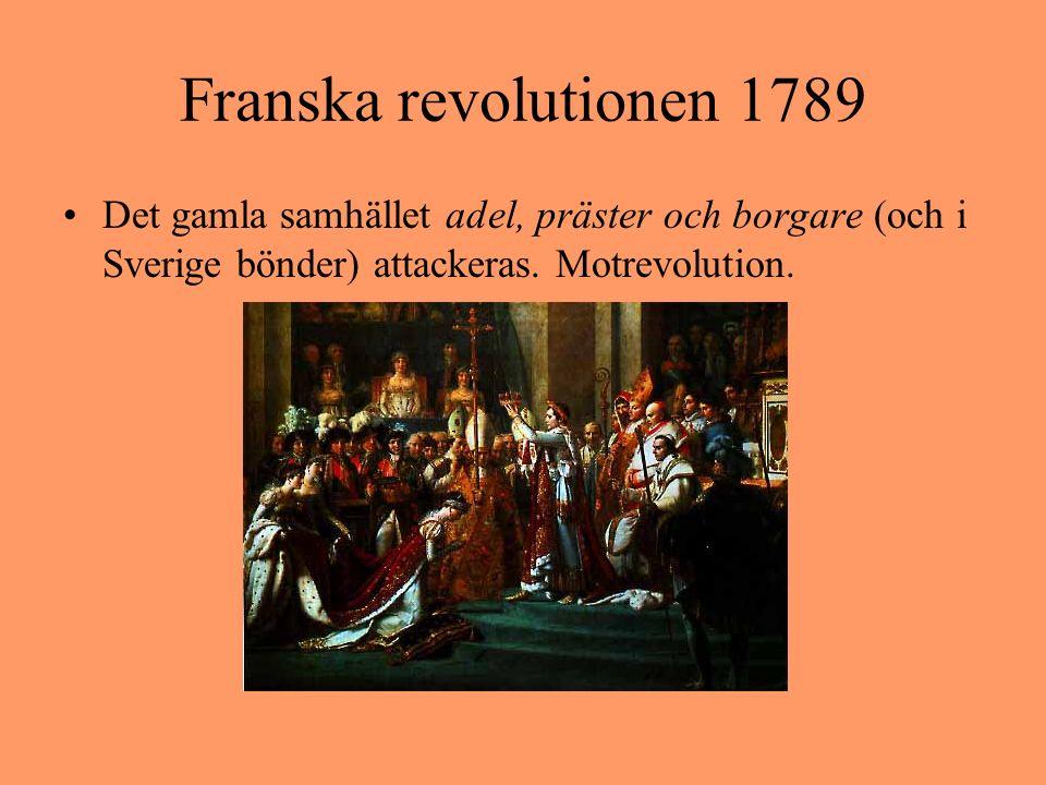 Franska revolutionen 1789 Det gamla samhället adel, präster och borgare (och i Sverige bönder) attackeras. Motrevolution.