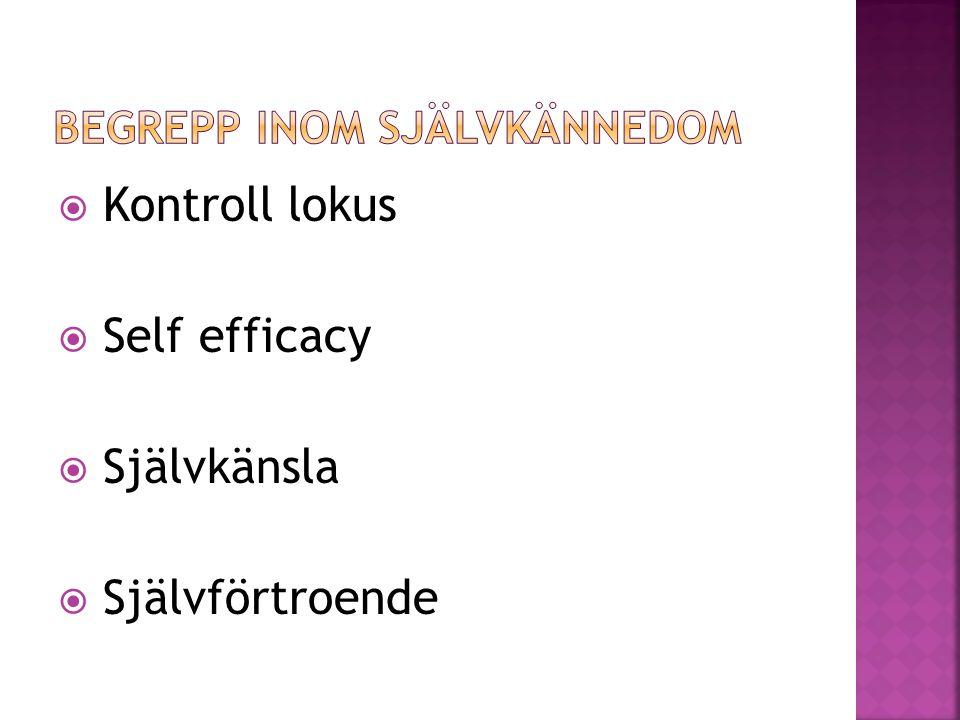  Kontroll lokus  Self efficacy  Självkänsla  Självförtroende