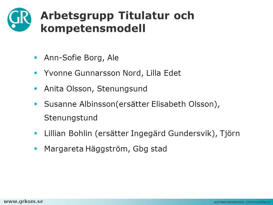 www.grkom.se ©GÖTEBORGSREGIONENS KOMMUNALFÖRBUND Arbetsgrupp Titulatur och kompetensmodell  Ann-Sofie Borg, Ale  Yvonne Gunnarsson Nord, Lilla Edet