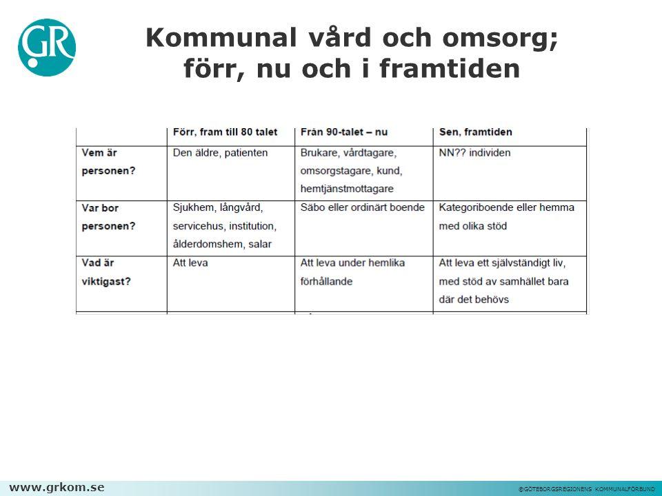 www.grkom.se ©GÖTEBORGSREGIONENS KOMMUNALFÖRBUND Kommunal vård och omsorg; förr, nu och i framtiden