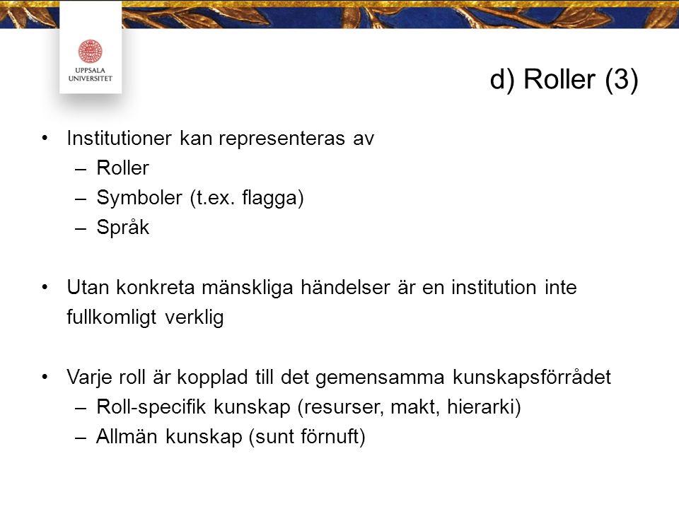 d) Roller (3) Institutioner kan representeras av –Roller –Symboler (t.ex.