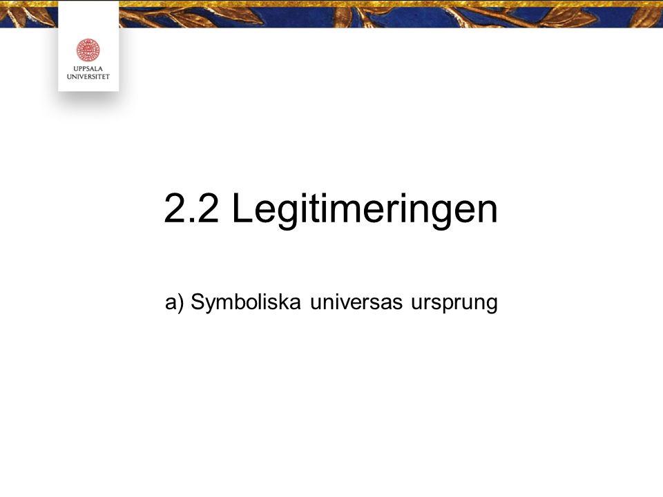 2.2 Legitimeringen a) Symboliska universas ursprung