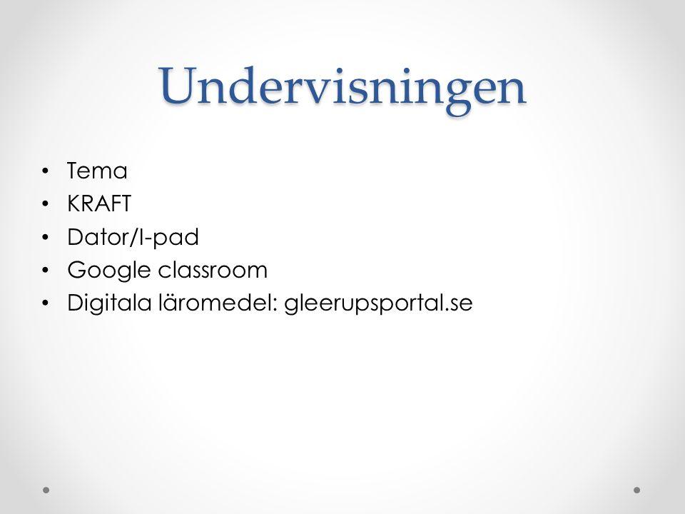 Undervisningen Tema KRAFT Dator/I-pad Google classroom Digitala läromedel: gleerupsportal.se