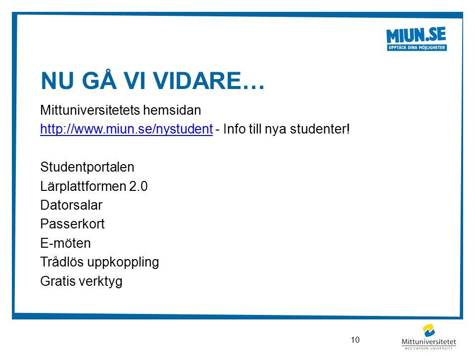 NU GÅ VI VIDARE… Mittuniversitetets hemsidan http://www.miun.se/nystudenthttp://www.miun.se/nystudent - Info till nya studenter.