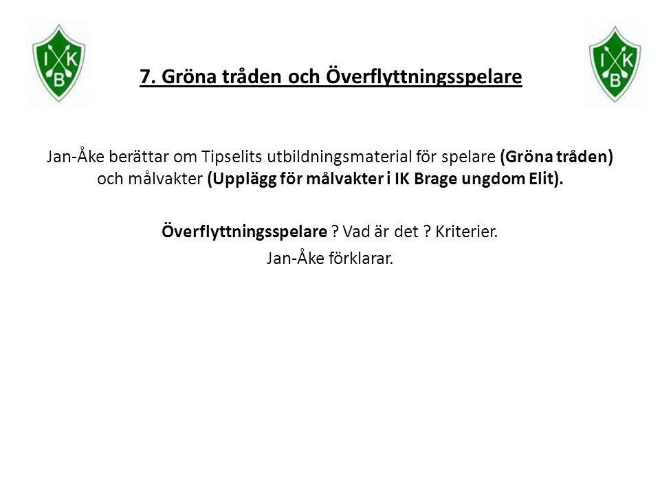 7. Gröna tråden och Överflyttningsspelare Jan-Åke berättar om Tipselits utbildningsmaterial för spelare (Gröna tråden) och målvakter (Upplägg för målv